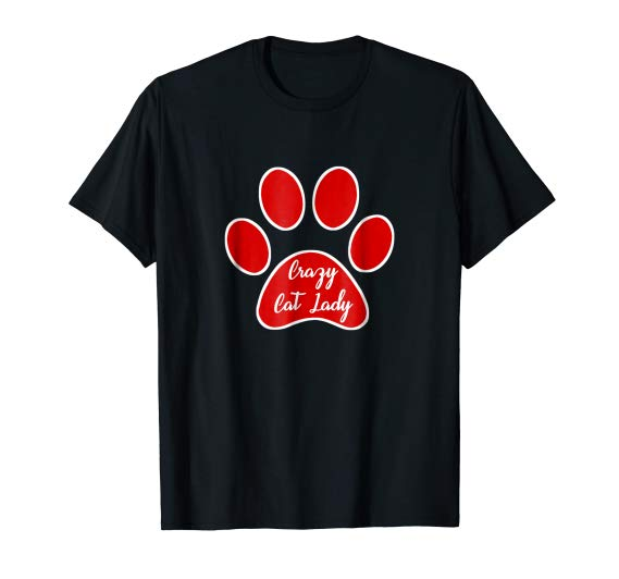 Crazy Cat Lady Paw Print T-Shirt