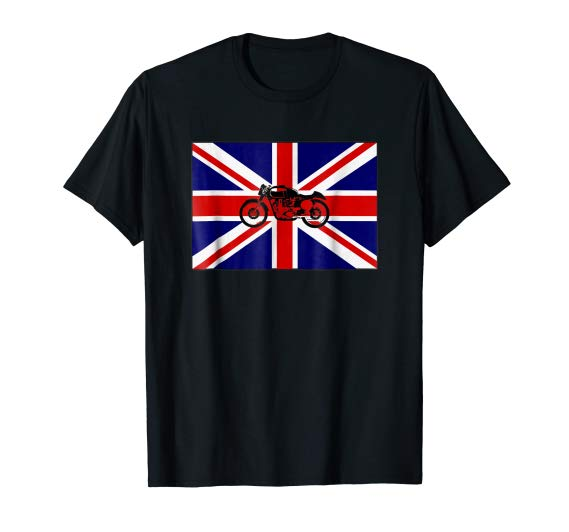 Union Jack Cafe Racer T-Shirt British Flag Motorcycle Tshirt