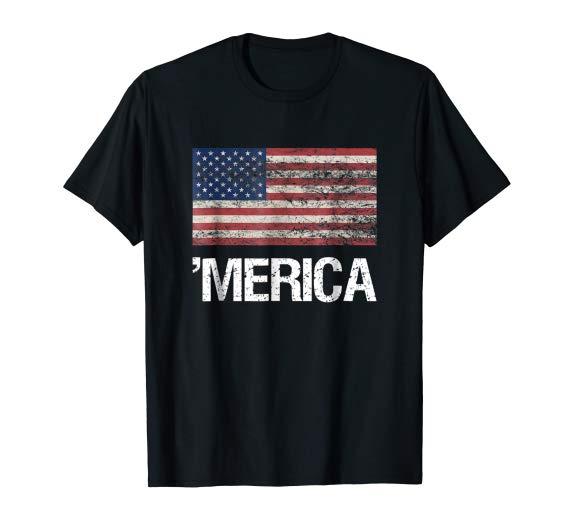 Merica, American Flag T-shirt Vintage Style US Flag USA