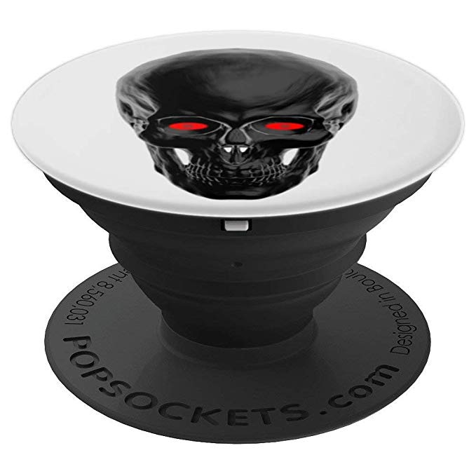 Black Skull, Red Eyes, scary design, creepy, Halloween - PopSockets Grip and Stand for Phones and Tablets