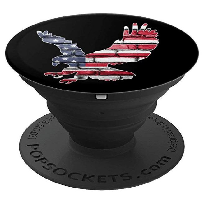 Eagle, US Flag and Brick Wall, America Pop Socket - PopSockets Grip and Stand for Phones and Tablets