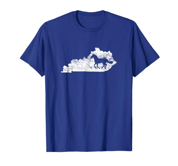 Kentucky Map Horse Tshirt, Kentucky T-Shirt Equestrian, Bluegrass State