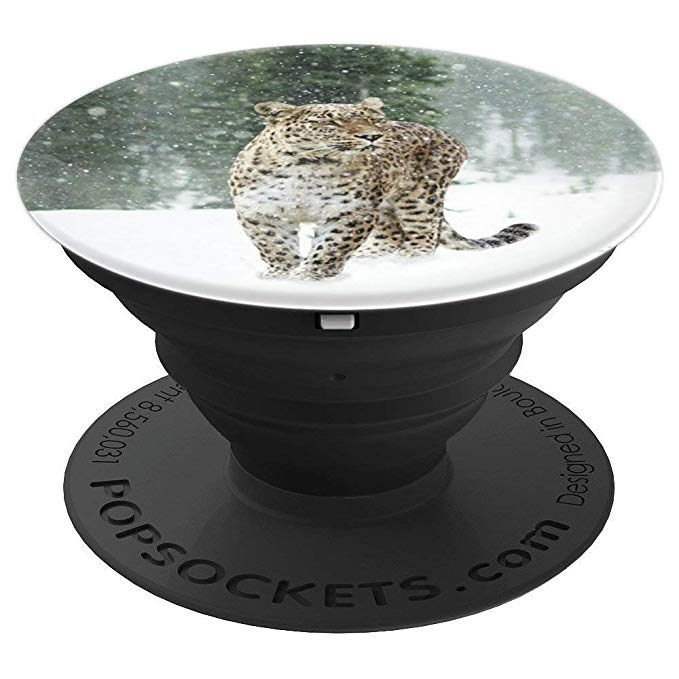 Leopard in the snow, Big Cat - PopSockets Grip and Stand for Phones and Tablets