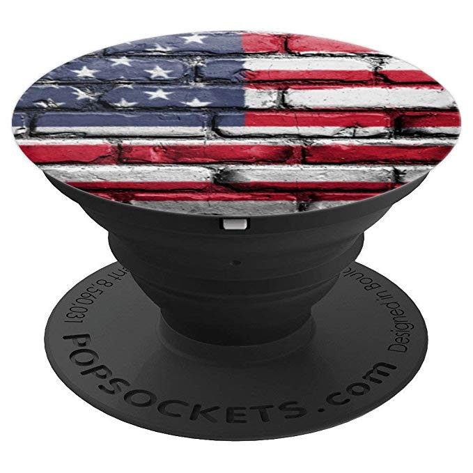 American Flag, Brick Wall Graphic, US Flag Patriotic Pop Socket - PopSockets Grip and Stand for Phones and Tablets