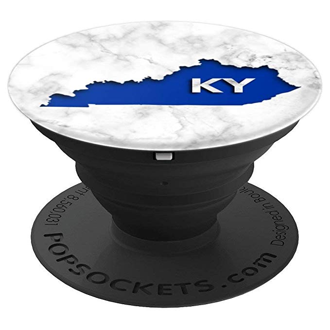 Kentucky State Map, Cutout from Beautiful Marble image, KY - PopSockets Grip and Stand for Phones and Tablets