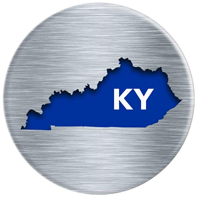 Kentucky PopSocket, Brushed Metal, Steel, KY, Blue and White.