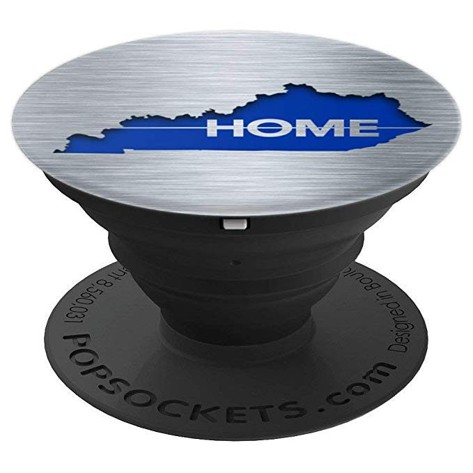 Kentucky State Map, Brushed Metal Look, Cutout, Home, Blue - PopSockets Grip and Stand for Phones and Tablets